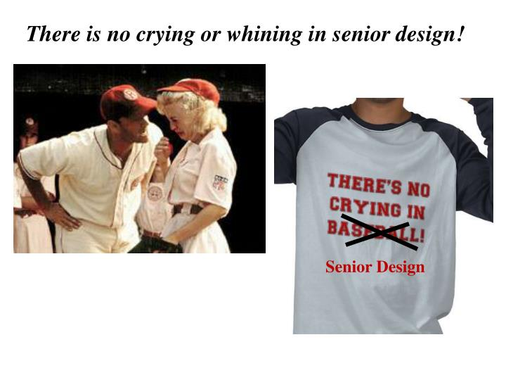 There is no crying or whining in senior design!