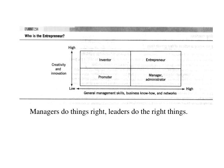 Managers do things right, leaders do the right things.