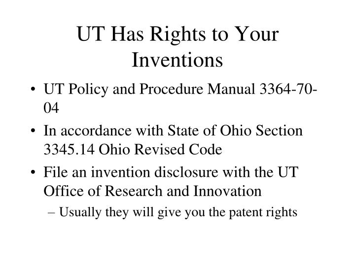 UT Has Rights to Your Inventions