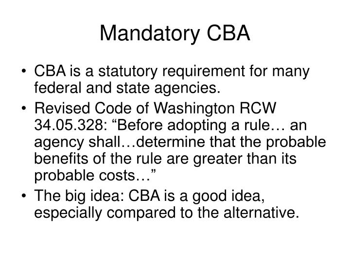 Mandatory CBA