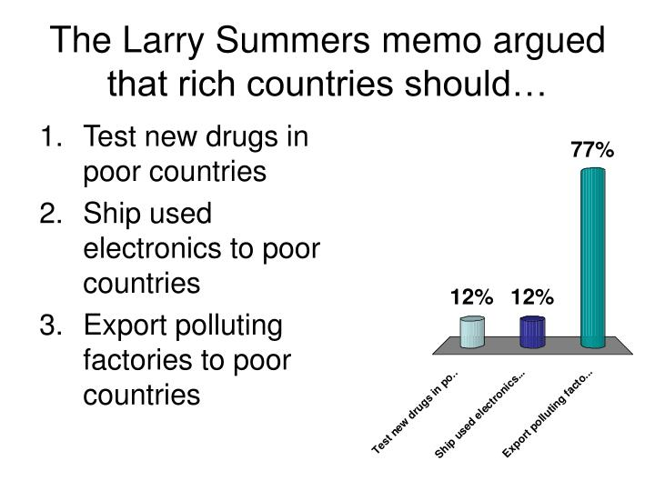 The Larry Summers memo argued that rich countries should…