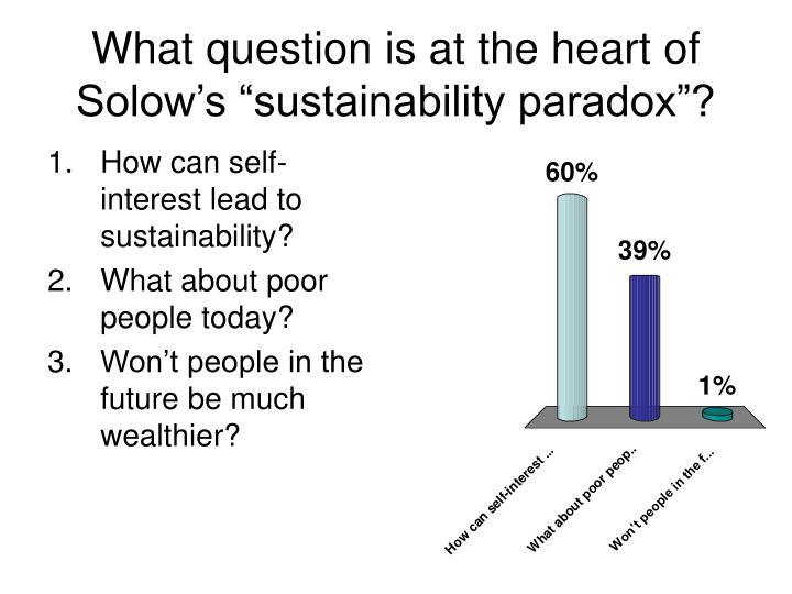 What question is at the heart of solow s sustainability paradox