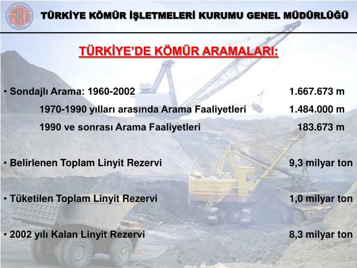 TÜRKİYE'DE KÖMÜR ARAMALARI
