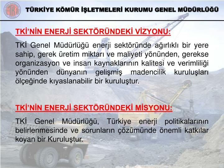 TKİ'NİN ENERJİ SEKTÖRÜNDEKİ VİZYONU:
