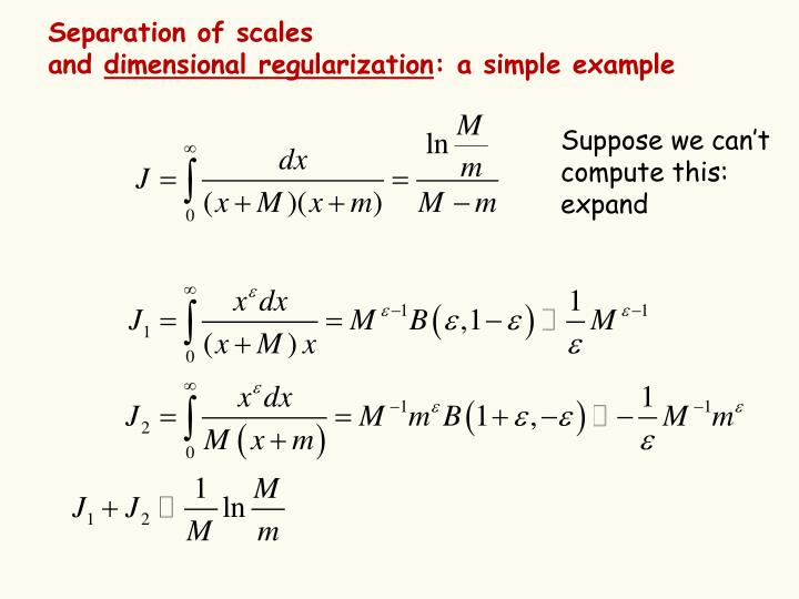 Separation of scales and dimensional regularization a simple example