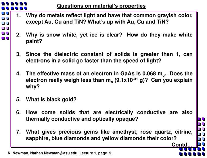 Questions on material's properties