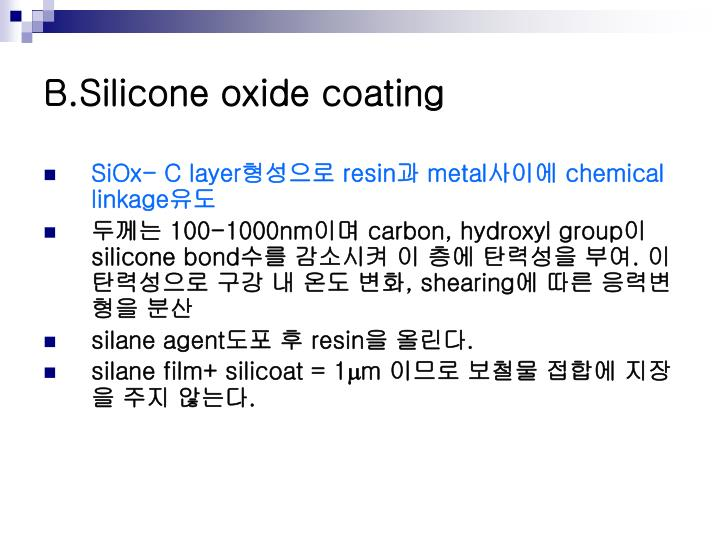 B.Silicone oxide coating