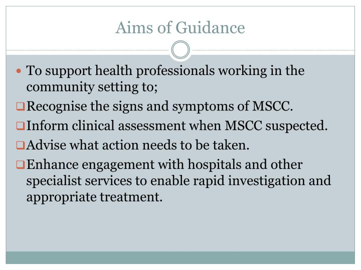 Aims of guidance