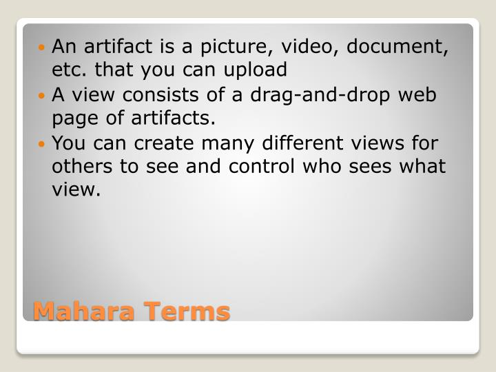 An artifact is a picture, video, document, etc. that you can upload