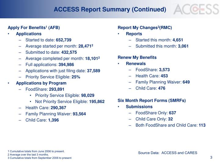 Access report summary continued