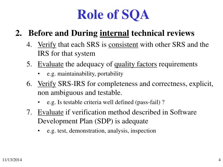 Role of SQA