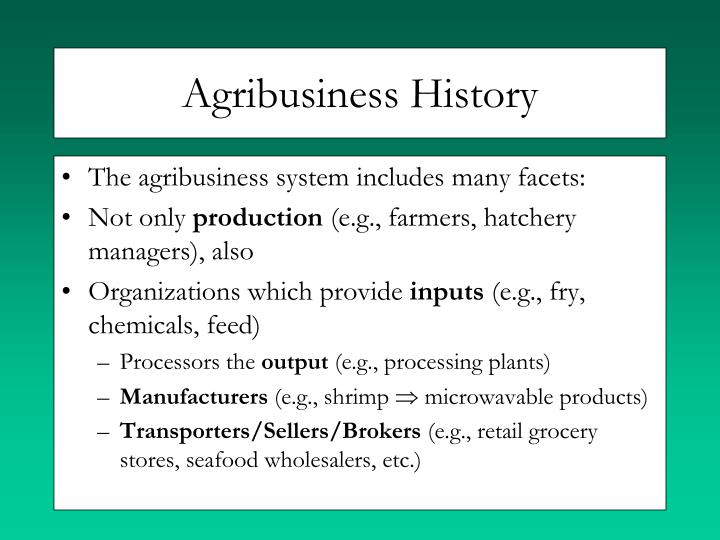 Agribusiness History