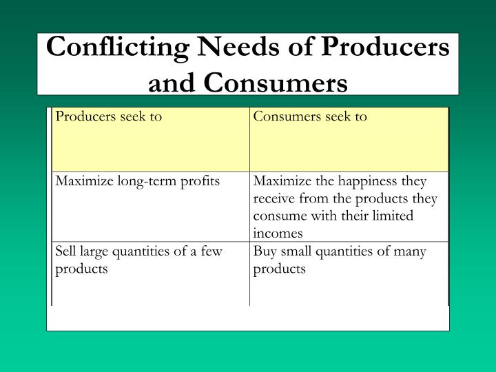 Conflicting Needs of Producers and Consumers