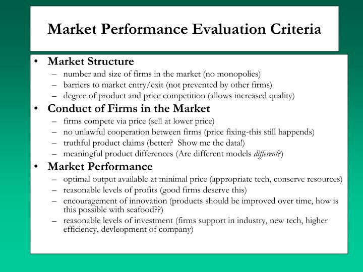 Market Performance Evaluation Criteria