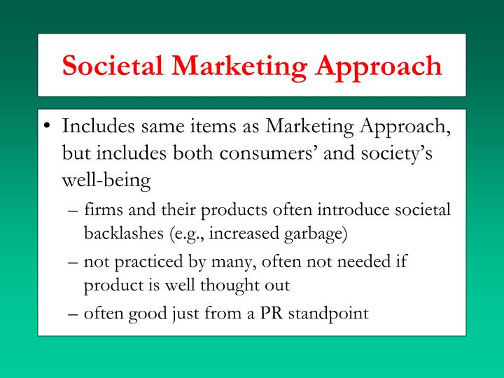 Societal Marketing Approach