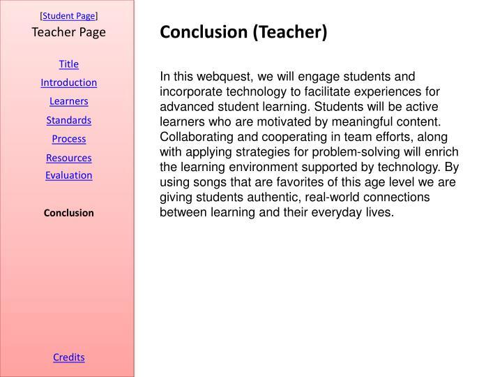Conclusion (Teacher)