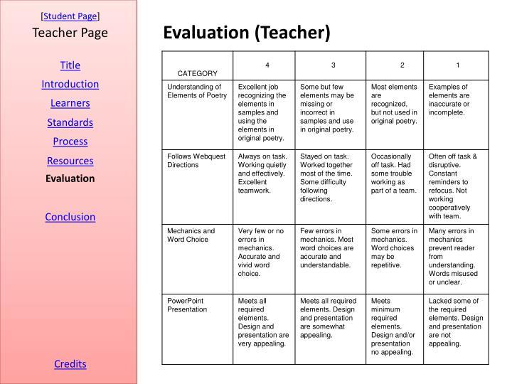 Evaluation (Teacher)
