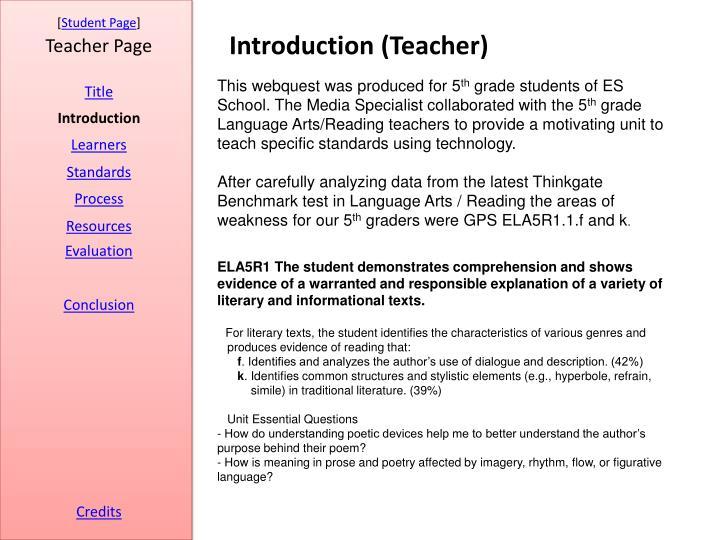 Introduction (Teacher)