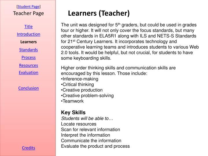 Learners (Teacher)