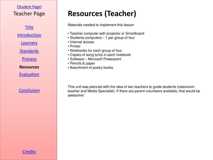 Resources (Teacher)