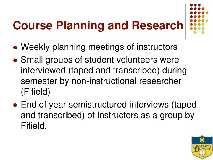Course Planning and Research