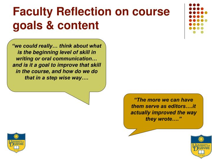 Faculty Reflection on course goals & content