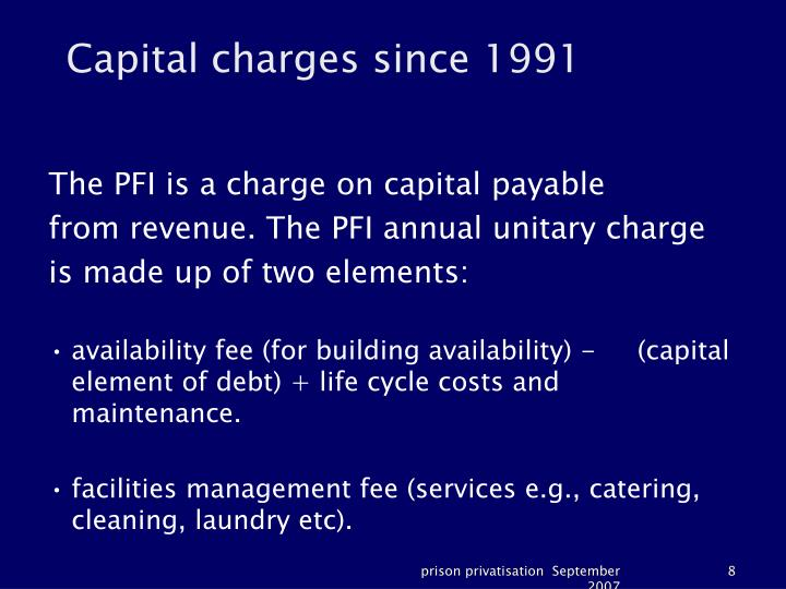 Capital charges since 1991