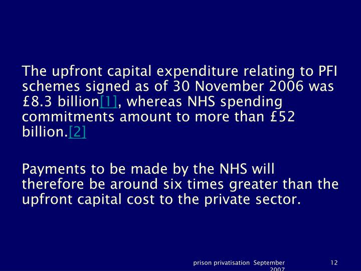 The upfront capital expenditure relating to PFI schemes signed as of 30 November 2006 was £8.3 billion