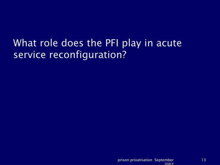What role does the PFI play in acute service reconfiguration?