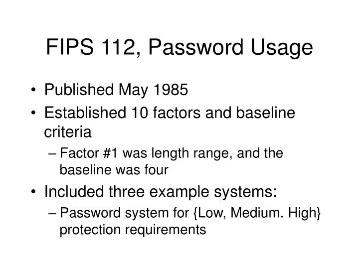 FIPS 112, Password Usage