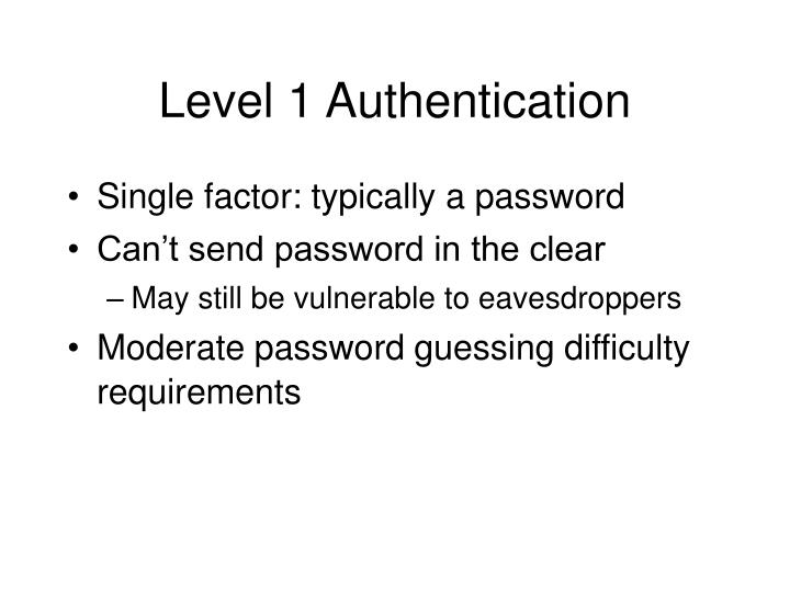 Level 1 Authentication