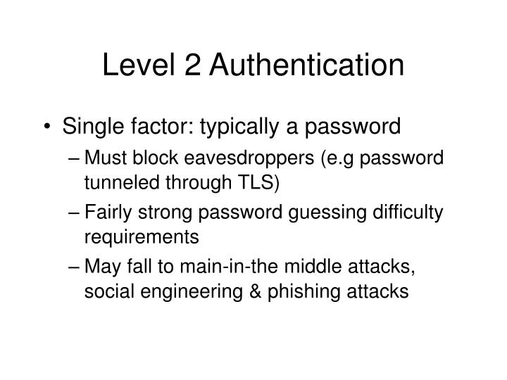 Level 2 Authentication