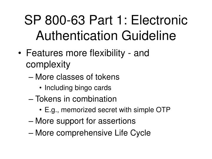 SP 800-63 Part 1: Electronic Authentication Guideline