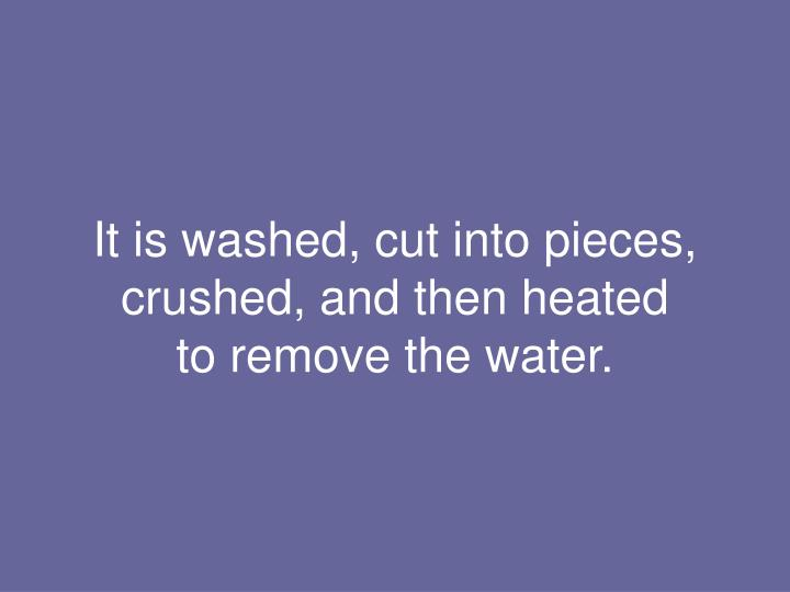 It is washed, cut into pieces, crushed, and then heated
