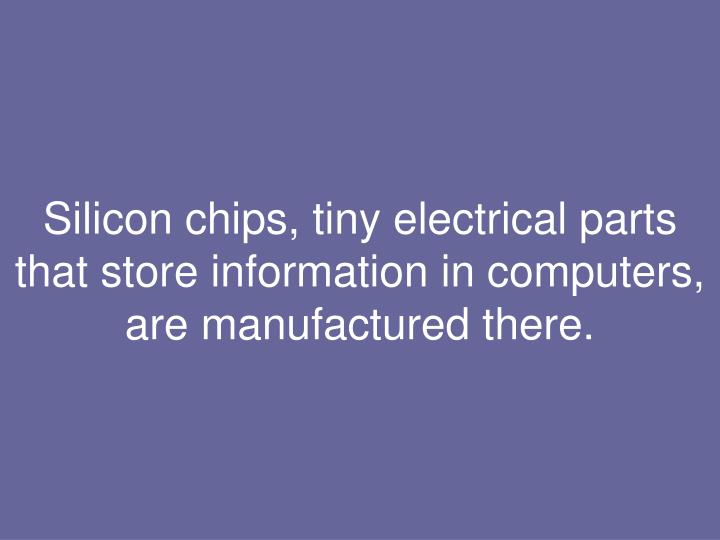 Silicon chips, tiny electrical parts that store information in computers, are manufactured there.