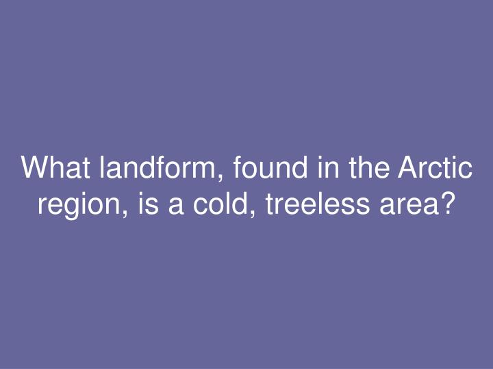 What landform, found in the Arctic region, is a cold, treeless area?