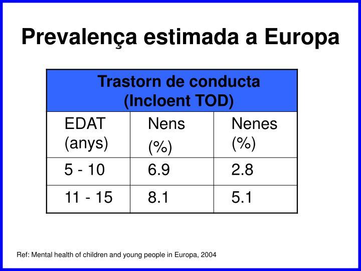 Prevalença estimada a Europa