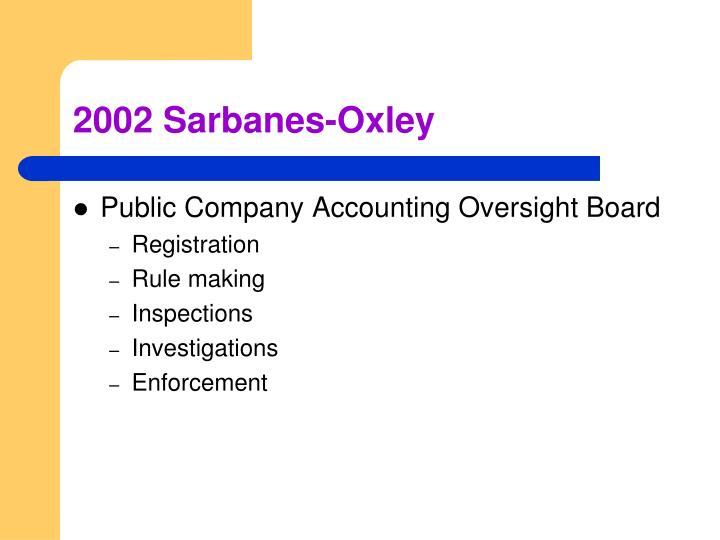 2002 Sarbanes-Oxley