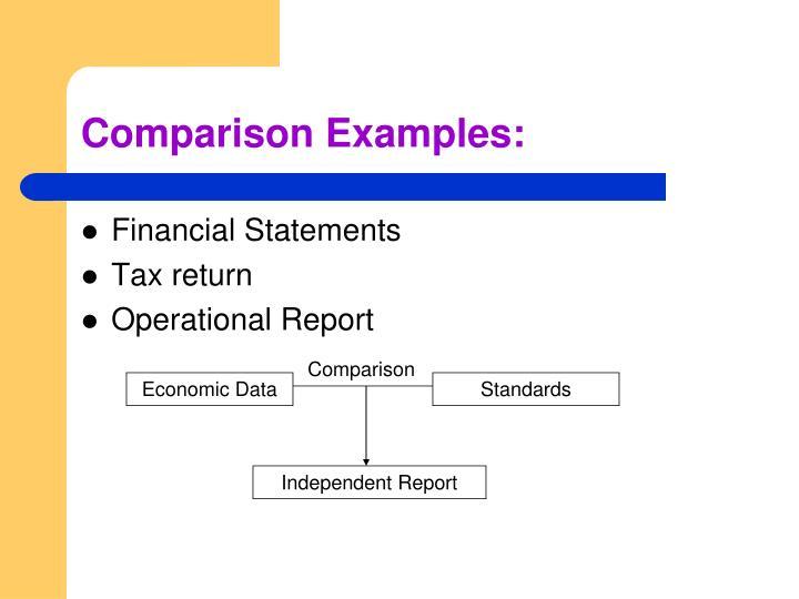 Comparison Examples: