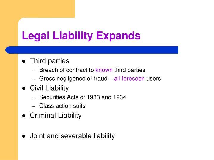 Legal Liability Expands