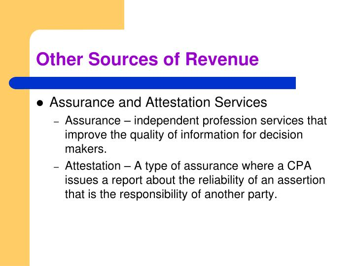 Other Sources of Revenue