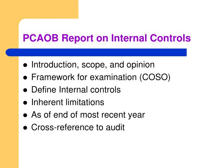 PCAOB Report on Internal Controls