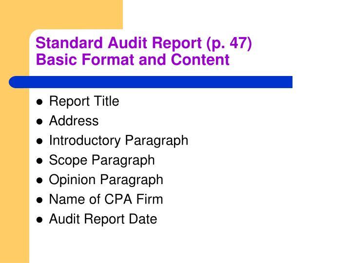 Standard Audit Report (p. 47)