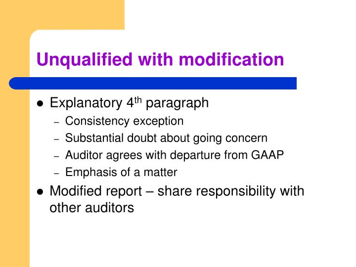 Unqualified with modification