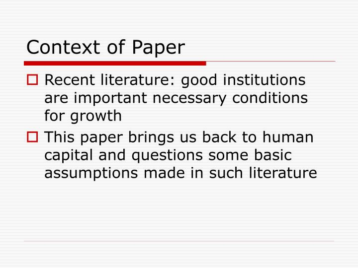 Context of Paper