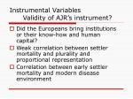 instrumental variables validity of ajr s instrument
