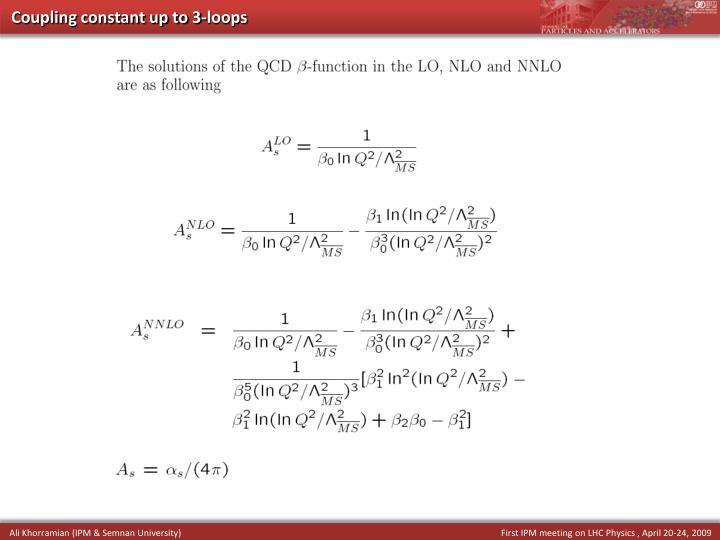 Coupling constant up to 3-loops
