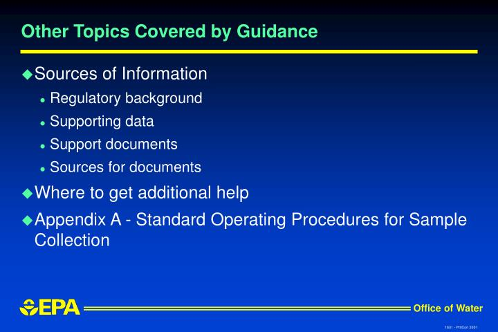 Other Topics Covered by Guidance