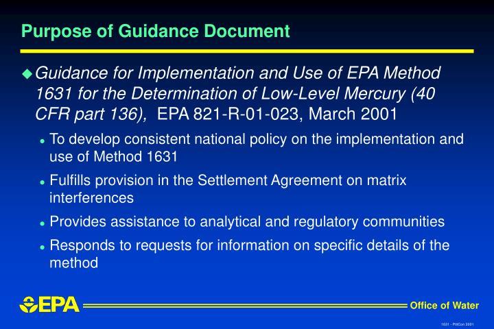 Purpose of Guidance Document