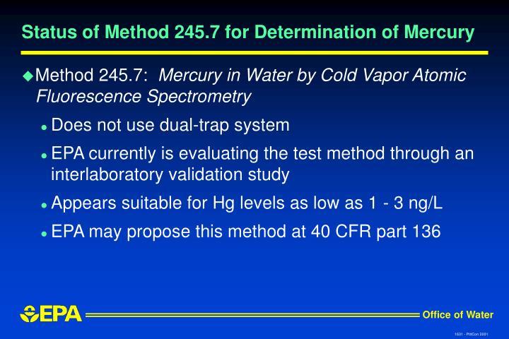 Status of Method 245.7 for Determination of Mercury